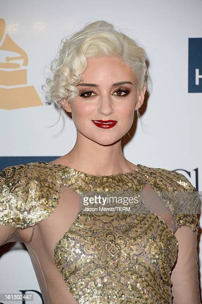 Model Caroline D'Amore arrives at Clive Davis The Recording Academy's 2013 PreGRAMMY Gala and Salute to Industry Icons honoring Antonio LA Reid at...