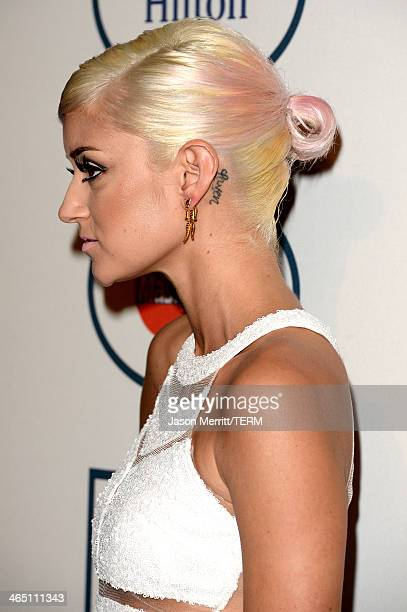 Model Caroline D'Amore attends the 56th annual GRAMMY Awards PreGRAMMY Gala and Salute to Industry Icons honoring Lucian Grainge at The Beverly...