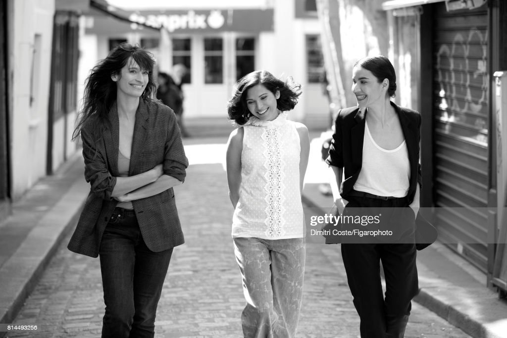 Model Caroline de Maigret and writers Julia Kerninon and Cecile Ladjali are photographed for Madame Figaro on May 10, 2017 in Paris, France. Maigret: Jacket (Maison Margiela), t-shirt (James Perse), jeans (BLK DNM). Kerninon: Top (Andrew GN), jeans (Sonia by Sonia Rykiel). Ladjali: Suit (Ann Demeulemeester), top (Majestic Filatures). PUBLISHED IMAGE.