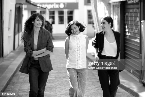 Model Caroline de Maigret and writers Julia Kerninon and Cecile Ladjali are photographed for Madame Figaro on May 10 2017 in Paris France Maigret...