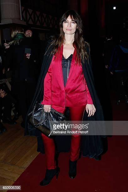 Model Caroline de Maigret attends the Haider Ackermann Menswear Fall/Winter 20172018 show as part of Paris Fashion Week Held at Galerie de la...