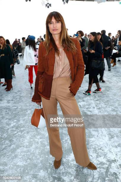 Model Caroline de Maigret attends the Haider Ackermann show as part of the Paris Fashion Week Womenswear Spring/Summer 2019 on September 29 2018 in...