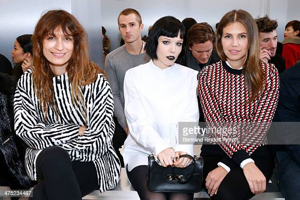 Model Caroline de Maigret Singer of group 'Crystal Castles' Alice Glass and Dasha Zhukova attend the Balenciaga show as part of the Paris Fashion...