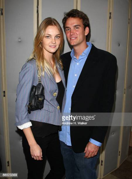 Model Caroline Trentini and Victor Demarchelier attend the launch of Frederic Malle's new fragrance Geranium pour Monsieur at Barneys New York on...