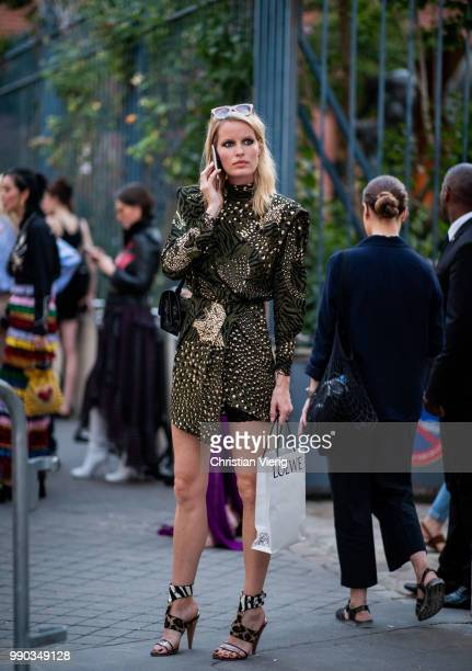 Model Caroline Winberg is seen outside Dundas on day two during Paris Fashion Week Haute Couture FW18 on July 2 2018 in Paris France