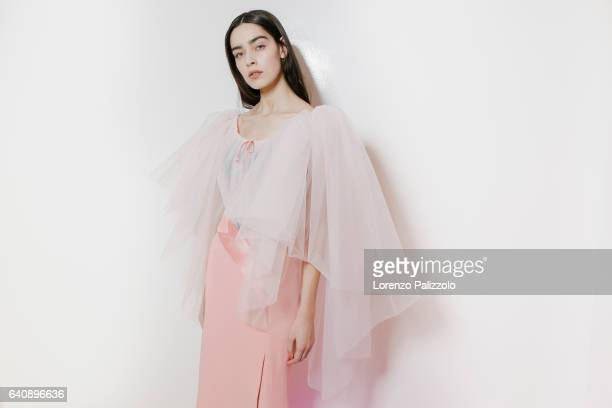 Model Catarina Santos poses Backstage prior the Alexis Mabille Spring Summer 2017 show as part of Paris Fashion Week on January 24 2017 in Paris...