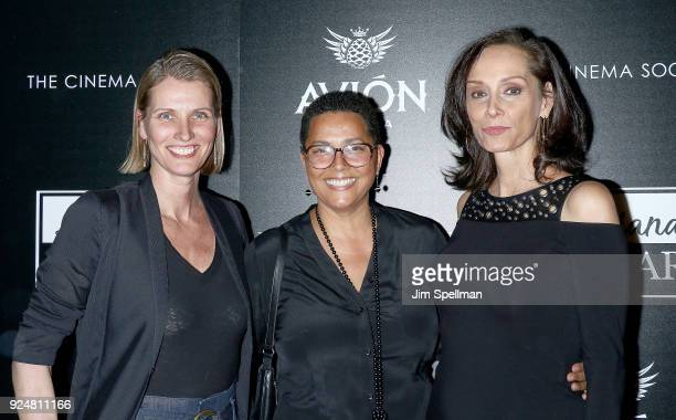 Model Cathy Fedoruk Louise Vyent and Catherine Roberts attend the screening of Louisiana Caviar hosted by The Cinema Society with Avion and Watchbox...