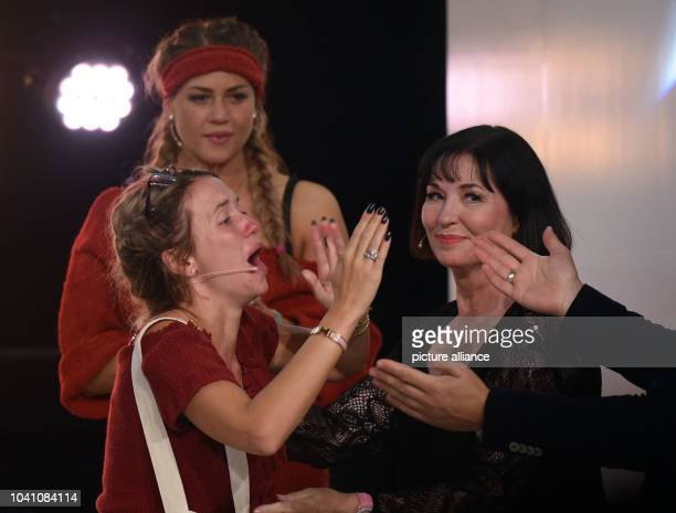 Model Cathy Lugner model Jessica Paszka and actress Isa Jank seen during the television show 'Promi Big Brother' by commercial broadcaster SAT1 in...