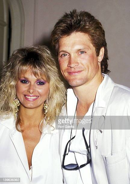 Model Cathy St George and actor Andrew Stevens attend the New Hope for Animals Foundation Benefit on June 21 1987 at a private estate in Beverly...