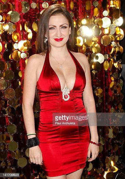 Model Celia Lora attends the Estrella TV's Hit dance series Mi Sueno Es Bailar season 3 press conference at Liberman Broadcasting on March 12 2012 in...