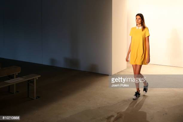 Model Celine Bethmann is seen backstage ahead of the Franziska Michael show during the MercedesBenz Fashion Week Berlin Spring/Summer 2018 at...