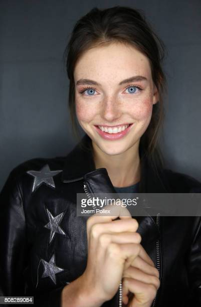 Model Celine Bethmann is seen backstage ahead of the Laurel show during the MercedesBenz Fashion Week Berlin Spring/Summer 2018 at Kaufhaus Jandorf...
