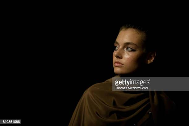 Model Celine Bethmann poses backstage ahead of the Michael Sontag show during the MercedesBenz Fashion Week Berlin Spring/Summer 2018 at Kaufhaus...