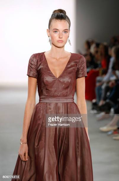 Model Celine Bethmann walks the runway at the Maisonnoee show during the MercedesBenz Fashion Week Berlin Spring/Summer 2018 at Kaufhaus Jandorf on...
