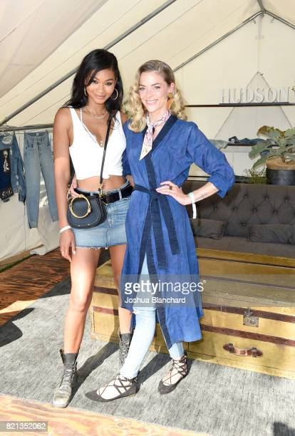 Model Chanel Iman and actress Jaime King attend the Hudson Jeans FYF Fest Style Lounge at Exposition Park on July 23 2017 in Los Angeles California