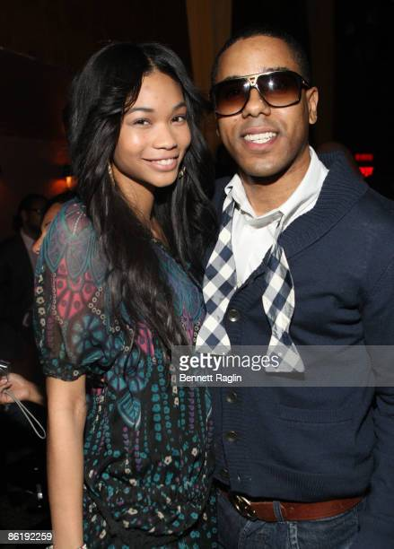 Model Chanel Iman and BJ Coleman attend the official 2009 NFL draft party at M2 Ultra Lounge on April 23 2009 in New York City