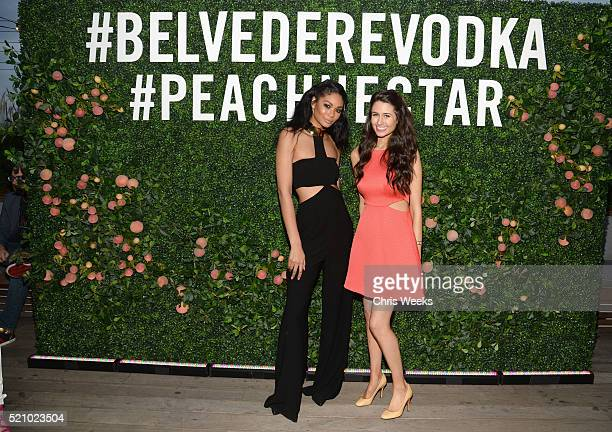 Model Chanel Iman and chef Chloe Coscarelli attend Belvedere Vodka Chloe Coscarelli Peach Nectar Garden Party at EP LP on April 13 2016 in West...