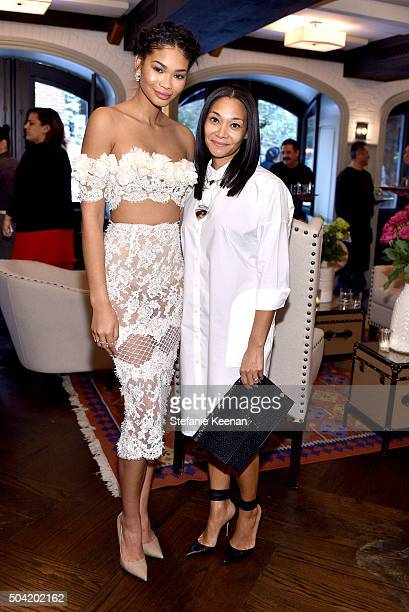 Model Chanel Iman and jewelry designer Monique Pean attend W Magazine's It Girl luncheon in partnership with Coach and Moet Chandon at AOC on January...