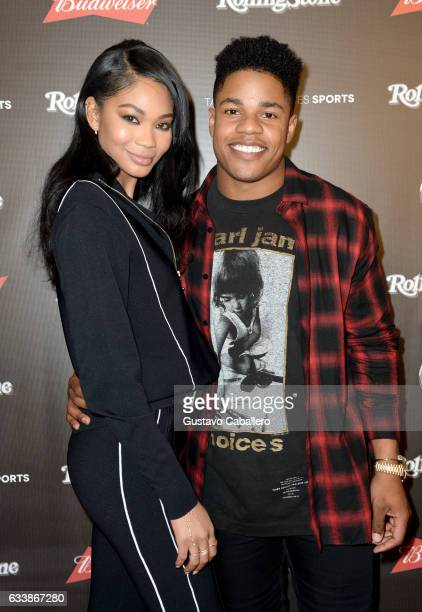 Model Chanel Iman and NFL player Sterling Shepard at the Rolling Stone Live Houston presented by Budweiser and MercedesBenz on February 4 2017 in...