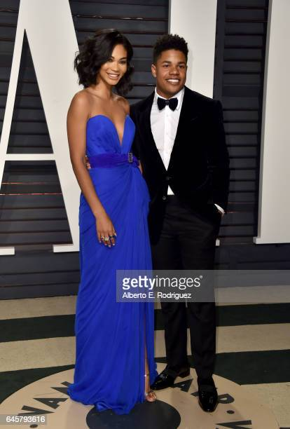 Model Chanel Iman and NFL player Sterling Shepard attend the 2017 Vanity Fair Oscar Party hosted by Graydon Carter at Wallis Annenberg Center for the...