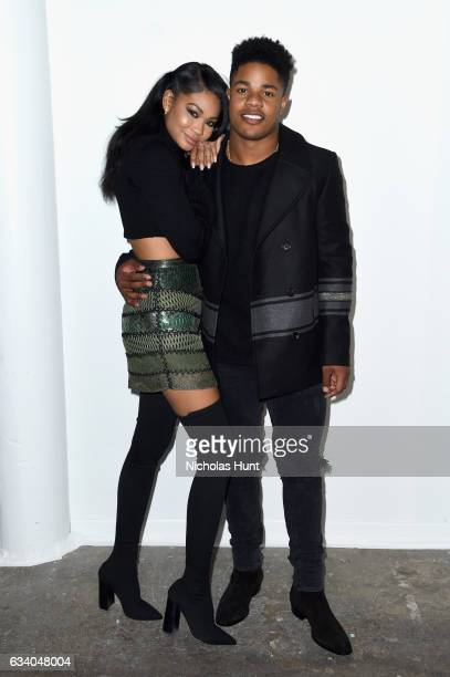 Model Chanel Iman and NFL player Sterling Shepard attend Vogue Celebrates The Launch of LIFEWTR at Super Bowl LI on February 3 2017 in Houston Texas