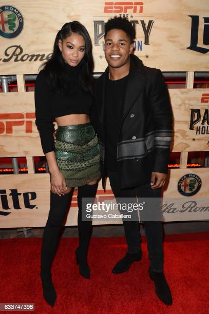 Model Chanel Iman and NFL player Sterling Shepard attends the 13th Annual ESPN The Party on February 3 2017 in Houston Texas