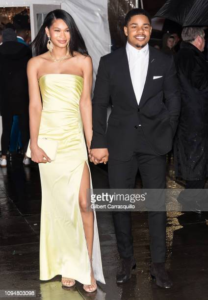 Model Chanel Iman and NFL wide receiver Sterling Shepard are seen arriving to the amfAR New York Gala 2019 at Cipriani Wall Street on February 6 2019...