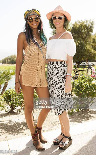 Model Chanel Iman and Recording Artist Katy Perry attend the Spotify Brunch at Soho Desert House with Bacardi Day 2n April 12 2014 in La Quinta...