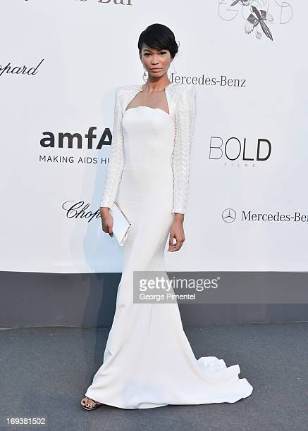 Model Chanel Iman arrives at amfAR's 20th Annual Cinema Against AIDS at Hotel du CapEdenRoc on May 23 2013 in Cap d'Antibes France