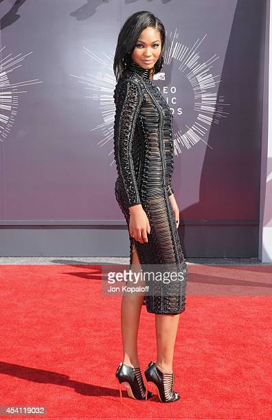 Model Chanel Iman arrives at the 2014 MTV Video Music Awards at The Forum on August 24 2014 in Inglewood California