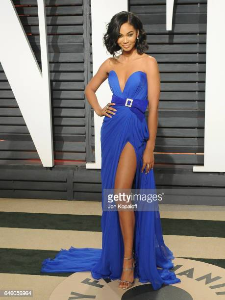 Model Chanel Iman arrives at the 2017 Vanity Fair Oscar Party Hosted By Graydon Carter at Wallis Annenberg Center for the Performing Arts on February...