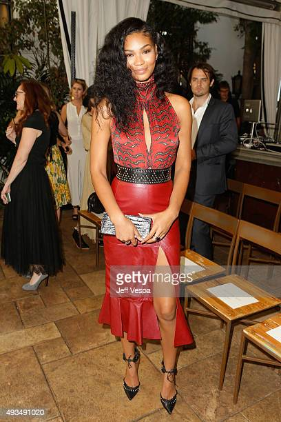Model Chanel Iman attends CFDA/Vogue Fashion Fund Show and Tea at Chateau Marmont on October 20 2015 in Los Angeles California