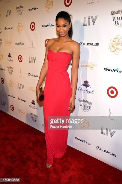 Model Chanel Iman attends Club SI Swimsuit at LIV Nightclub hosted by Sports Illustrated at Fontainebleau Miami on February 19 2014 in Miami Beach...