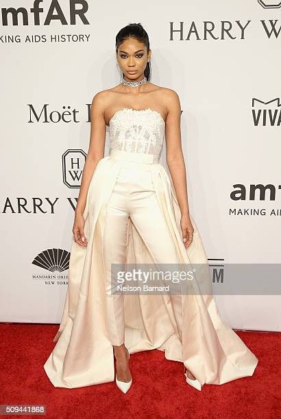 Model Chanel Iman attends the 2016 amfAR New York Gala at Cipriani Wall Street on February 10 2016 in New York City