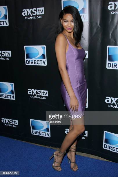Model Chanel Iman attends the DirecTV Super Saturday Night at Pier 40 on February 1 2014 in New York City