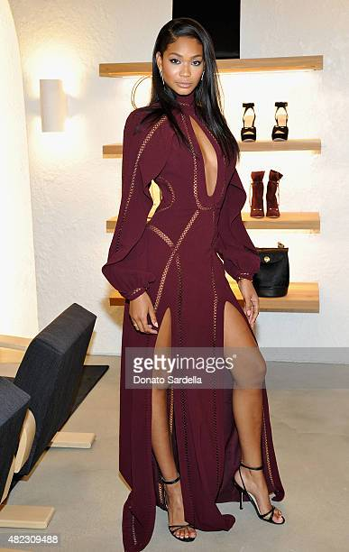 Model Chanel Iman attends the opening of the ZIMMERMANN Melrose Place Flagship Store hosted by Nicky and Simone Zimmermann on July 29, 2015 in Los...