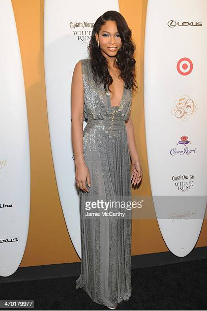 Model Chanel Iman attends the Sports Illustrated Swimsuit 50 Years of Swim in NYC Celebration at the Sports Illustrated Swimsuit Beach House on...