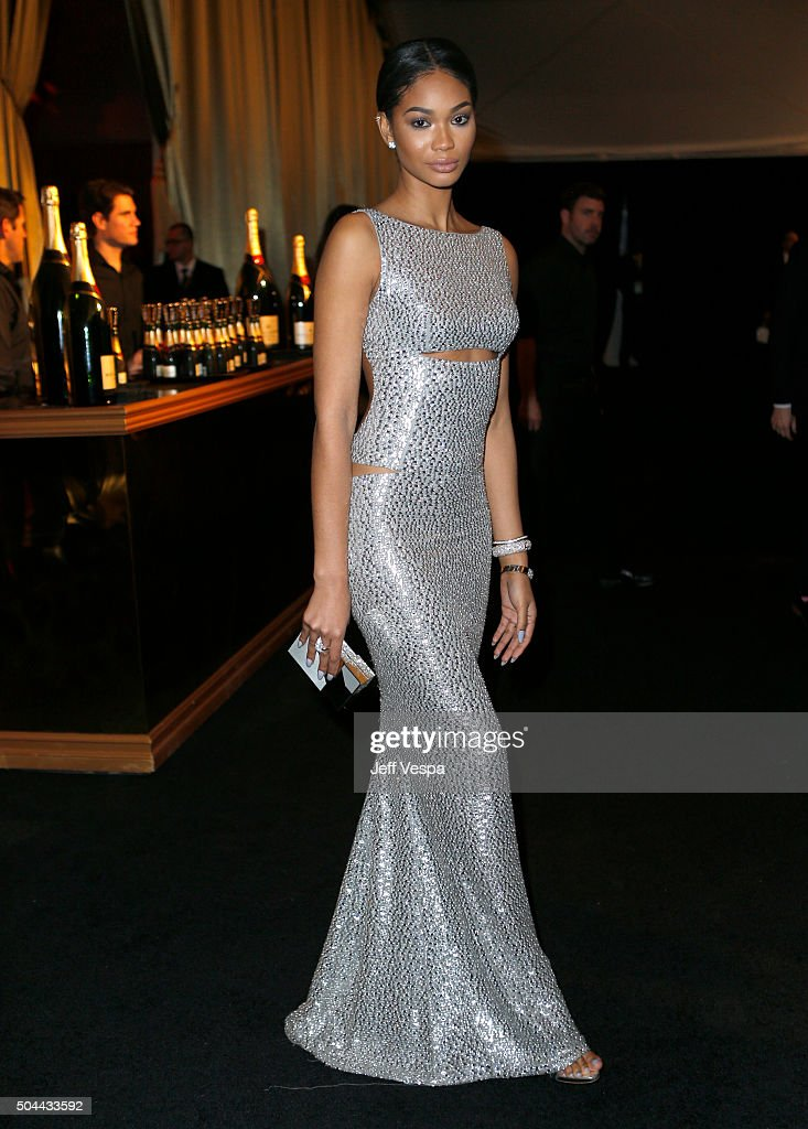 Model Chanel Iman attends The Weinstein Company and Netflix Golden Globe Party, presented with DeLeon Tequila, Laura Mercier, Lindt Chocolate, Marie Claire and Hearts On Fire at The Beverly Hilton Hotel on January 10, 2016 in Beverly Hills, California.