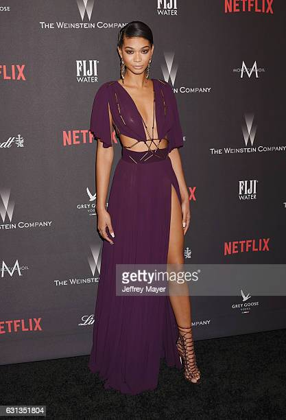 Model Chanel Iman attends The Weinstein Company and Netflix Golden Globe Party presented with FIJI Water Grey Goose Vodka Lindt Chocolate and...
