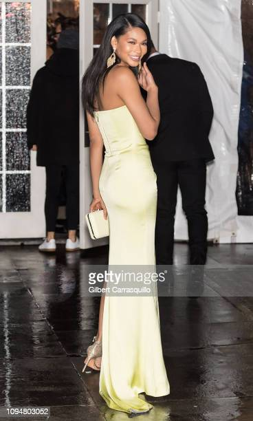 Model Chanel Iman is seen arriving to the amfAR New York Gala 2019 at Cipriani Wall Street on February 6 2019 in New York City