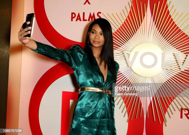 Model Chanel Iman takes a video during Revolve's second annual #REVOLVEawards at Palms Casino Resort on November 9 2018 in Las Vegas Nevada