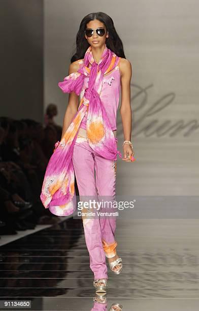 Model Chanel Iman walks down the runway during the Blumarine Milan Womenswear Fashion Week Spring/Summer 2010 at the Milano Fashion Center at on...