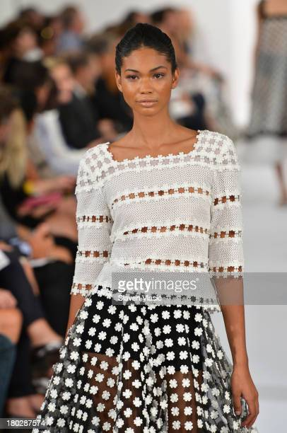 Model Chanel Iman walks the runway at the Oscar De La Renta fashion show during MercedesBenz Fashion Week Spring 2014 on September 10 2013 in New...