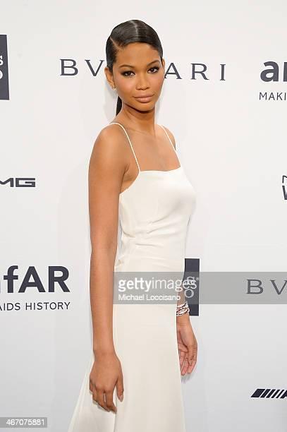 Model Chanel Iman wearing Bulgari attends the 2014 amfAR New York Gala at Cipriani Wall Street on February 5 2014 in New York City