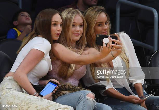 Model Chantal Roe actress/model Faith Schroder and model model France Duque attend a basketball game between the Oklahoma City Thunder and Los...