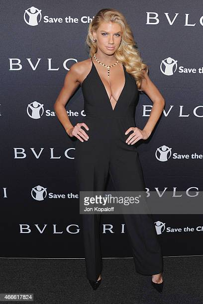 Model Charlotte McKinney arrives at BVLGARI And Save The Children STOP THINK GIVE PreOscar Event at Spago on February 17 2015 in Beverly Hills...