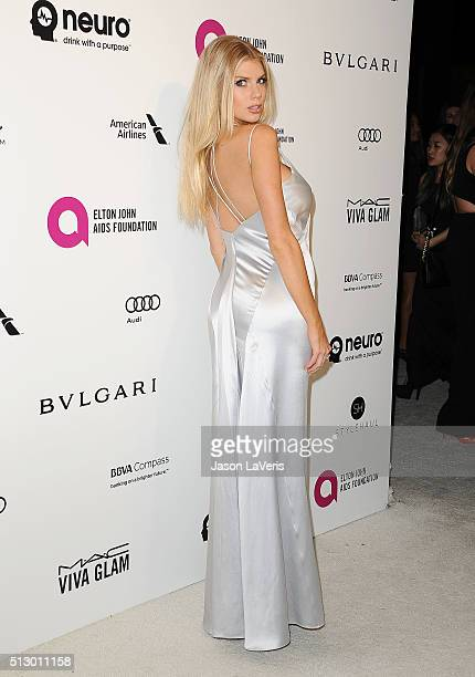 Model Charlotte McKinney attends the 24th annual Elton John AIDS Foundation's Oscar viewing party on February 28, 2016 in West Hollywood, California.
