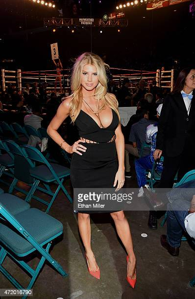 Model Charlotte Mckinney poses ringside at 'Mayweather VS Pacquiao' presented by SHOWTIME PPV And HBO PPV at MGM Grand Garden Arena on May 2 2015 in...