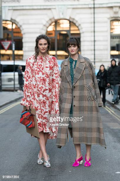 Model Charlotte Wiggins wears all Mulberry with Model Sam Rollinson wearing all Mulberry on day one of London Womens Fashion Week Autumn/Winter 2018...
