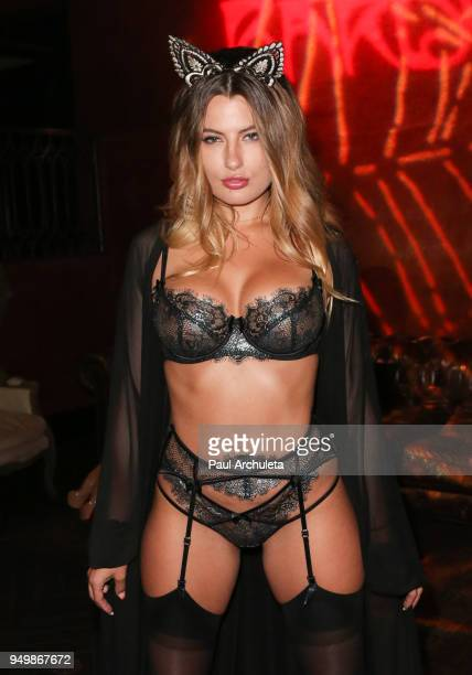 Model Cherie Noel attends the Babes In Toyland's Halfway To Halloween costume party at Bardot on April 21 2018 in Hollywood California